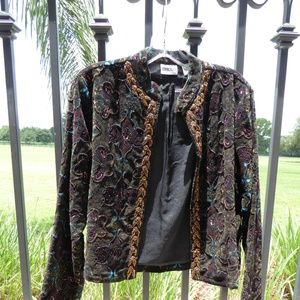 Chico's Bead Beaded Velour Jacket NWT Size 0